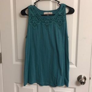 Teal Lacy Tank Top